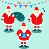 Set of three Santa Claus with holiday decoration. royalty free illustration