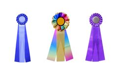 Set of three satin ribbons Stock Photo