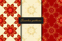 Set of three seamless pattern with flowers in red, white and gold colors. Vector background.  Stock Photo