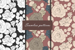 Set of three seamless pattern with roses in beautiful vintage colors for your design. Vector background Stock Photography