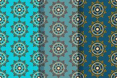 Set of three seamless patterns with abstract floral elements in retro style. Textile fabric, printing and many other areas of stock photography