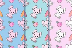 Set of three seamless patterns with with cartoon cute rabbits. Childish background. Vector kawaii illustration. EPS10. royalty free illustration