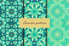 Set with three seamless patterns. Decorative vintage patterns with mandalas. Vector backgrounds Stock Images