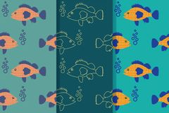 Set of three seamless patterns with floating fish in the sea in one style. Design for wallpaper, gift paper, pattern fills, web vector illustration