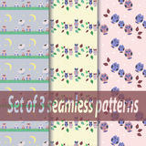 Set of three seamless patterns with an owls. Flat, for children Stock Image