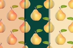 Set of three seamless patterns with pears in realistic style. Colorful illustration, eps10 stock illustration