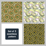Set of three seamless patterns. Vector design. Multi-colored patterns of the spiral elements. Royalty Free Stock Photo