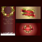 Set of three separated christmas and new years banners  Stock Photo