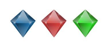 Set of three shiny colorful crystal illustrations or symbols.  stock illustration