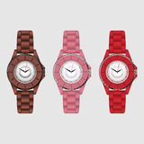 Set of three silicone colorful  wristwatches. Royalty Free Stock Photo