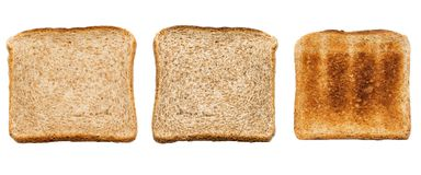Set of three slices of fresh bread for toast isolated over white background. Close up. Top view.  Royalty Free Stock Photography