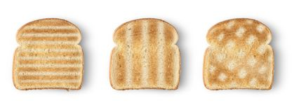 Slices toast bread. Set of three slices toast bread isolated on white stock photos