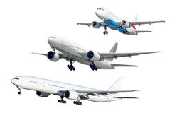 Set of three soaring aircraft isolated against background Royalty Free Stock Photos