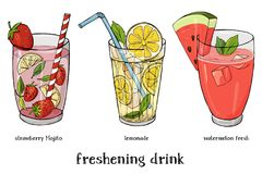 Set of three soft drinks. Lemonade, strawberry Mojito and watermelon fresh. Colorful vector illustration in sketch style stock illustration