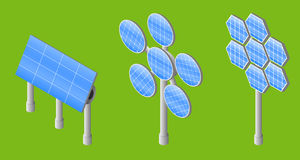 Set of three solar panel. Isometric vector illustrator Stock Photography