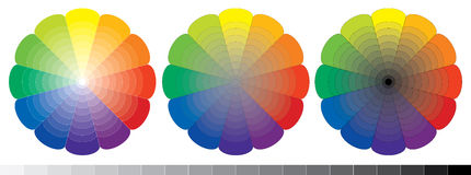 Set of three spectrum circles. With gradient to white, grey and black colors Stock Photo