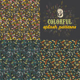 Set of three splatter vector patterns Royalty Free Stock Image