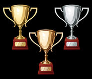 Set of three Sport Cups Royalty Free Stock Images