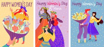 Colorful cards for International Women`s Day. Set of three spring cards with girl and flower. International Women& x27;s Day. Colorful illustration. Can be used royalty free illustration