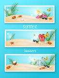 Set of three summer banners. Illustration of summer banners with summer decoration with space for your text Royalty Free Stock Photo
