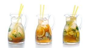 Set of three summer fruit lemonade in glass, isolated on white background Stock Photography