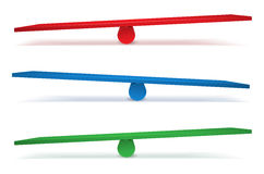 Set of three swings in different colors Stock Photos