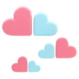 Set of three symbolic clouds made of hearts Stock Photography