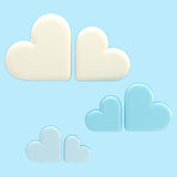 Set of three symbolic clouds made of hearts Stock Image