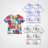 Set of three t-shirts with abstract funny monsters. Royalty Free Stock Photography