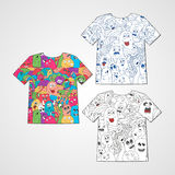 Set of three t-shirts with abstract funny monsters. Royalty Free Stock Image