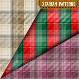 Set of three Tartan Plaid samples in vector Stock Photo