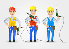 Set of three technical, electrician or mechanic Stock Image