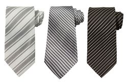 Set of three ties isolated on white Stock Image