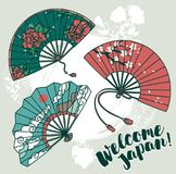 Set of three traditional asian hand paper fan with beautiful ornaments Stock Image