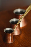 Set of three turkish coffee pot Stock Photography