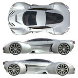 A set of three types of racing concept car in gray. Side view and top view. 3d illustration. Stock Images