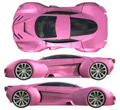 A set of three types of racing concept car in pink. Side view and top view. 3d illustration. Royalty Free Stock Photos