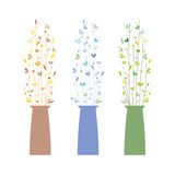 Set of Three Vases With Flowers Stock Photo