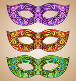 Set of three vector ornate floral Venetian carnival masks Royalty Free Stock Photo