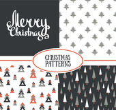 Set of three vector seamless patterns with stylish Christmas trees and Merry Christmas. Royalty Free Stock Image