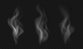Set of three vector smoke effects isolated on transparent backgr. Ound vector illustration
