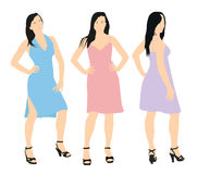 Set of three vector women characters. Young woman in a summer dr Stock Photography