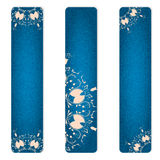 Set of three vertical banner blue jeans with pink ornaments. Stock Photos