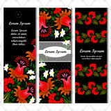 Set of three vertical banners. Flower. Place for your text. Stock Photo