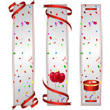 Set of three vertical banners with a holiday red balls and red gift box. Vector Stock Photography