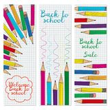 Set of three vertical banners with multicolored pencils. Doodle back to school background. Vector illustration royalty free illustration