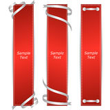 A set of three vertical banners red ribbons. Royalty Free Stock Photo