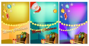 Set of three vertical New Year banners with Christmas cartoon home interior with hot fireplace. Christmas banner template with place for your text. Christmas stock illustration