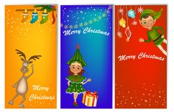 Set of three vertical New Year banners with cute kids in costume. Fir tree costume and elf. New Year banner template with place for your text vector illustration
