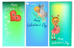Set of three vertical Valentine`s Day banners with cute kids in costume. stock illustration